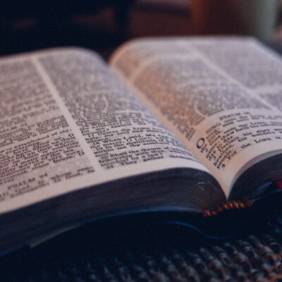 Open bible with red bookmark