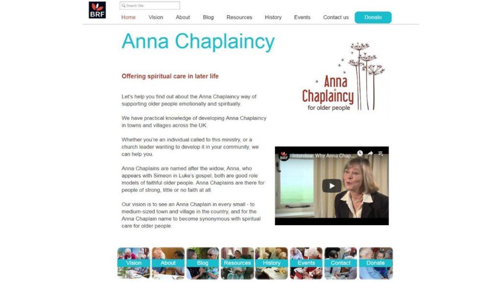 Anna Chaplaincy website screenshot