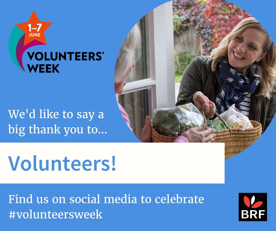1–7 June Volunteers' Week. We'd like to say a big thank you to volunteers! Find us on social media to celebrate #volunteersweek