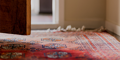 Open door and rug