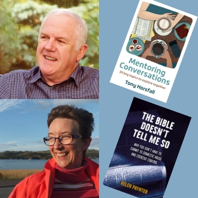 Tony Horsfall and Helen Paynter and books covers of Mentoring Conversations and The Bible Doesn't Tell Me So