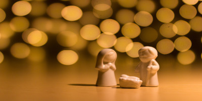 Festive lights with figurines
