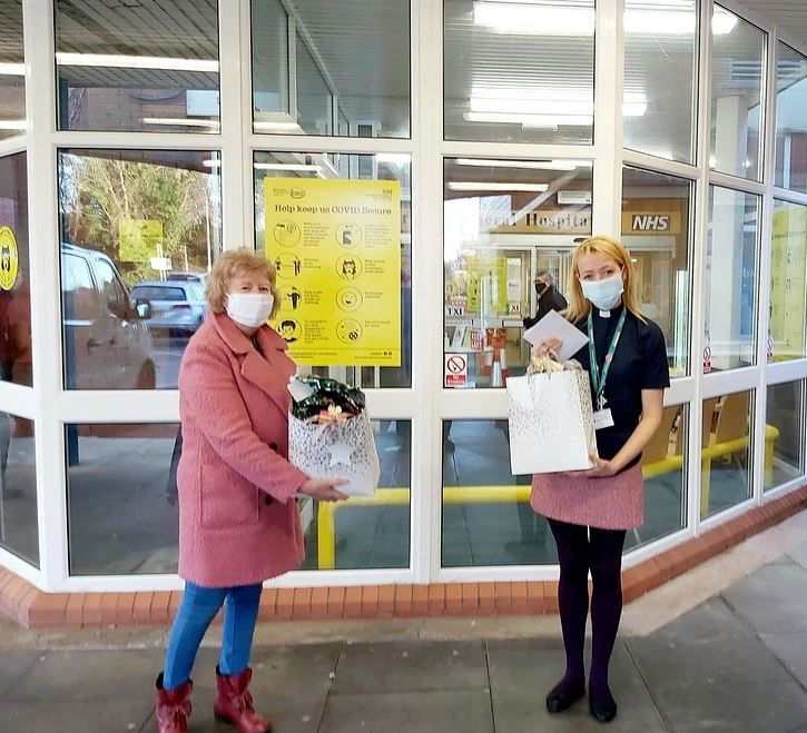 Babs delivers two gift bags of crosses to the local hospital.