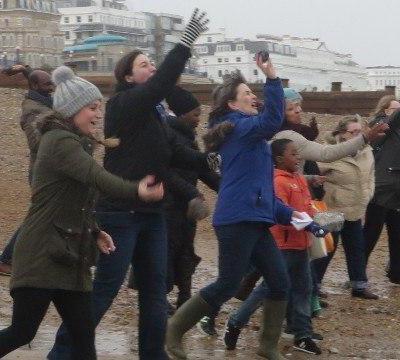 Group of volunteers on a beach