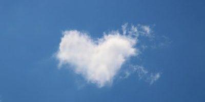Heart-shaped cloud on a blue background