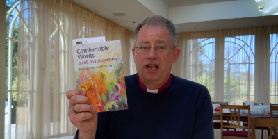 Bishop Stephen Croft with his new book Comfortable Words