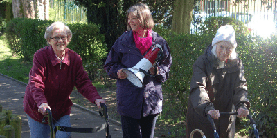Debbie Thrower on Anna Chaplaincy sponsored walk in Alton with two older ladies