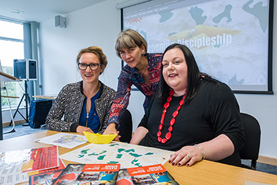 Messy Church founder and team Leader Lucy Moore meets with Sharon Pritchard from the Diocese of Durham and Naomi Maynard from Church Army's Research Unit