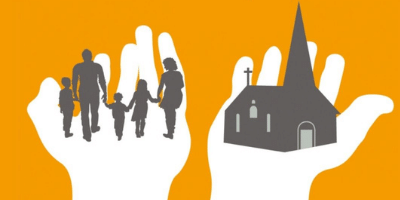 graphic image of two hands palms upward; family in one hand, church in the other