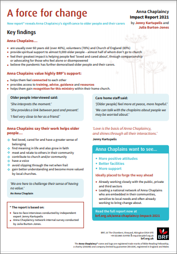 A force for change - the one page summary of the Anna Chaplaincy Impact Report 2021