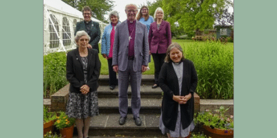 Bishop James Langstaff with Julia Burton Jones and five of the new Anna Chaplaincy Archdeaconry leads