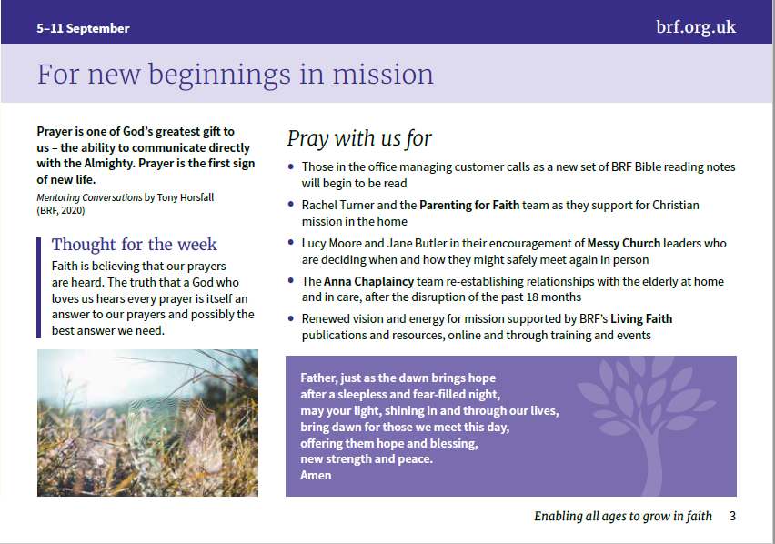 Prayer Diary inside page entitled 'For new beginnings in mission'
