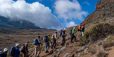 A line of mountain climbers