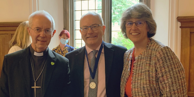 Justin Welby with Richard and Karen Fisher at Lambeth Palace
